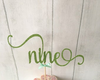 Birthday Number Cake Topper, Nine, 9th Birthday, Ninth, Glitter Delicate Script, Custom Number, Celebration Cake Topper, Special Occasion