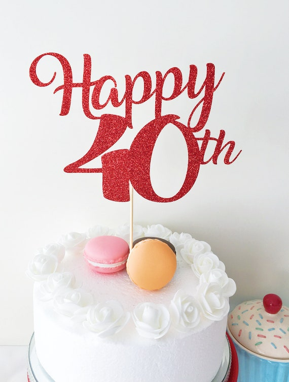 Magnificent Happy 40Th Cake Topper Forty Years Old 40 Years Loved Etsy Funny Birthday Cards Online Kookostrdamsfinfo