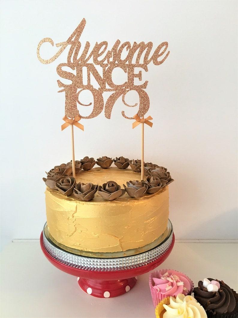Strange Awesome Since 1979 Birthday Cake Topper 40Th Birthday 40 Etsy Birthday Cards Printable Inklcafe Filternl