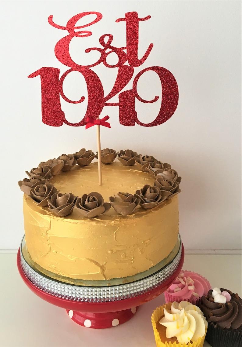 Est 1949 Cake Topper Established Centrepiece 70th Birthday Decor 70 Years Old Seventy Decorations Seventieth