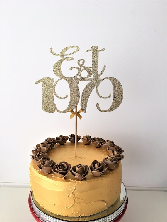 Incredible Est 1979 Cake Topper 40Th Birthday Glitter Centrepiece 40 Etsy Funny Birthday Cards Online Bapapcheapnameinfo