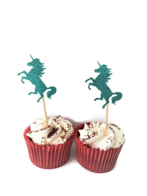 Unicorn Cupcake Toppers Fairytale Theme Party Cake Picks Etsy