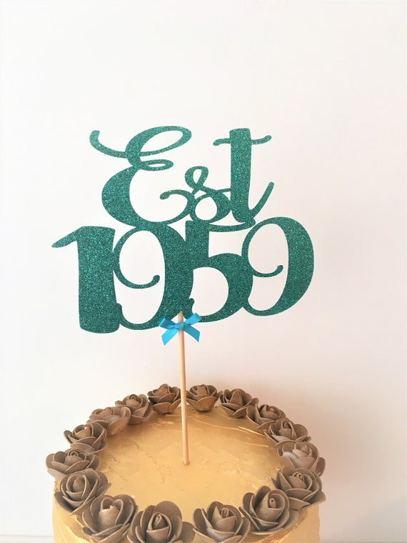 Est 1959 Cake Topper Established Centrepiece 60th