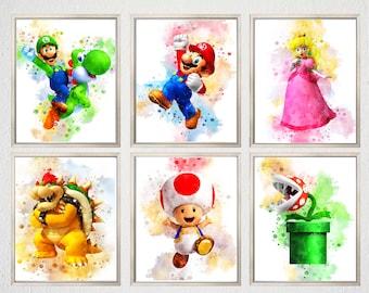 SET 6 Mario PRINTABLE ART Super Mario Poster Mario Print Watercolor Mario Bros Wall Decor Video Game Nintendo Mario Painting Gaming Gift