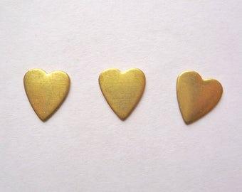 40 tiny brass heart blanks, 9 x 8 mm dapped hearts