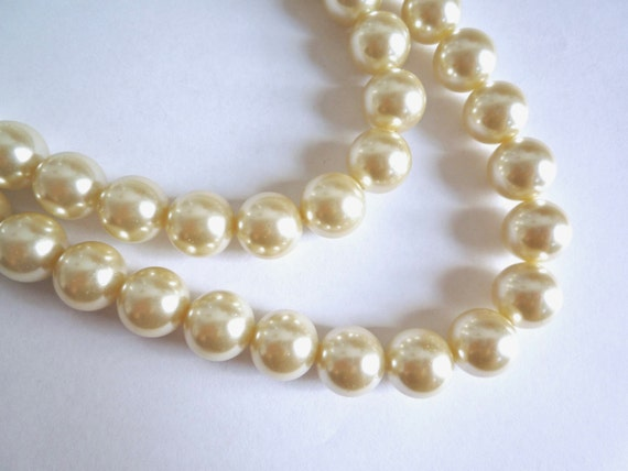 84D ONE 32inch STRAND BLUE PEARL ~8mm~ ROUND GLASS BEADS~Bracelets~Necklace