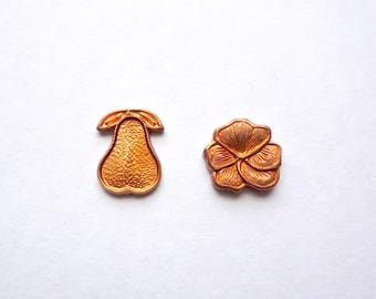 20 small copper pear and flower blanks, Solid copper 10 - 8 mm die formed shapes