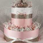 Mini Diaper Cake baby shower centerpiece baby girl gift pink and gold shabby chic decorations princess baby decor