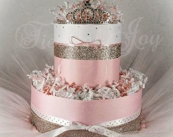 Mini Pink and Gold Diaper Cake Baby Girl Shower Shabby Chic Shower Gift Centerpiece Baby Shower Decor Princess Decorations Newborn Gift