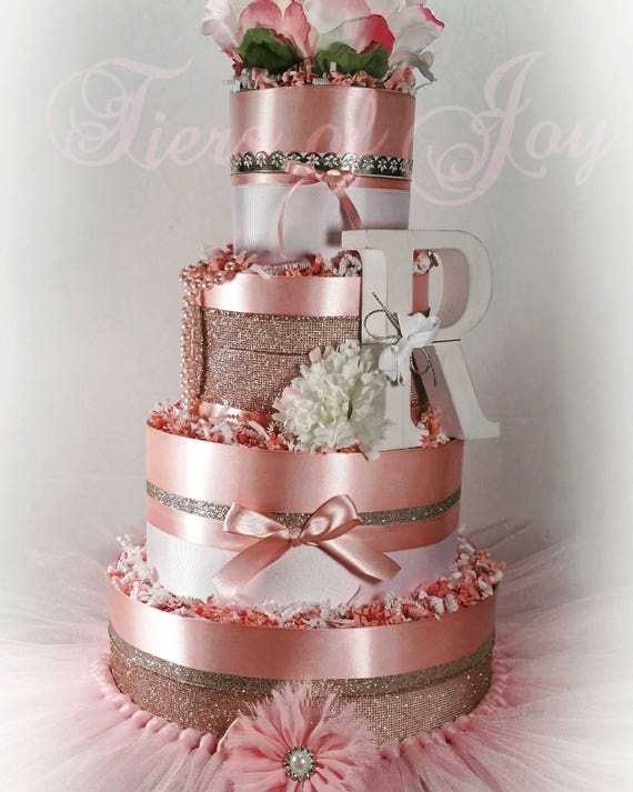 Pink And Rose Silver Diaper Cake Tutu Beads Flower Cake Topper Etsy