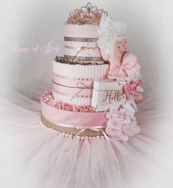 Pink And Gold Diaper Cake Baby Blanket Tiara Tutu Hair Bow Etsy