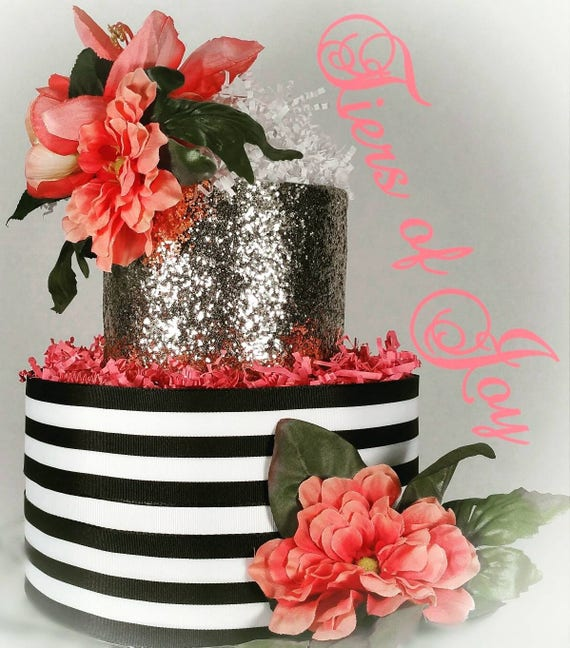 Black White And Pink Diaper Cake Flower Cake Topper Custom Etsy