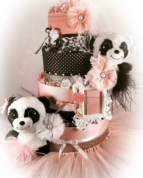 Pink Panda Diaper Cake Stuffed Animal Picture Frame Hair Bows Etsy