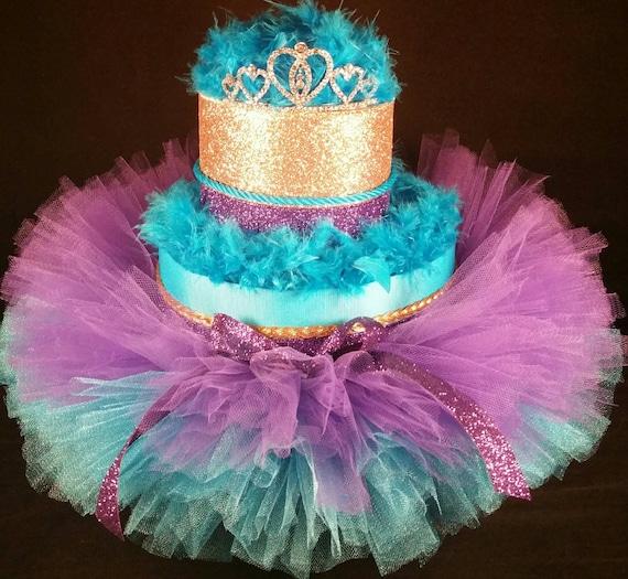 Purple Turquoise And Gold Diaper Cake Tiara Tutu Baby Girl Etsy