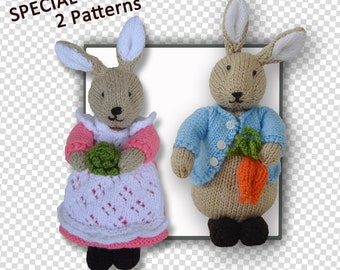 Peter & Beatrix Flufftail Bunny Rabbit (2 pattern together)
