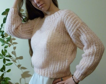 powder pink sweater loose knit cover up women knit wear Crop fishnet top