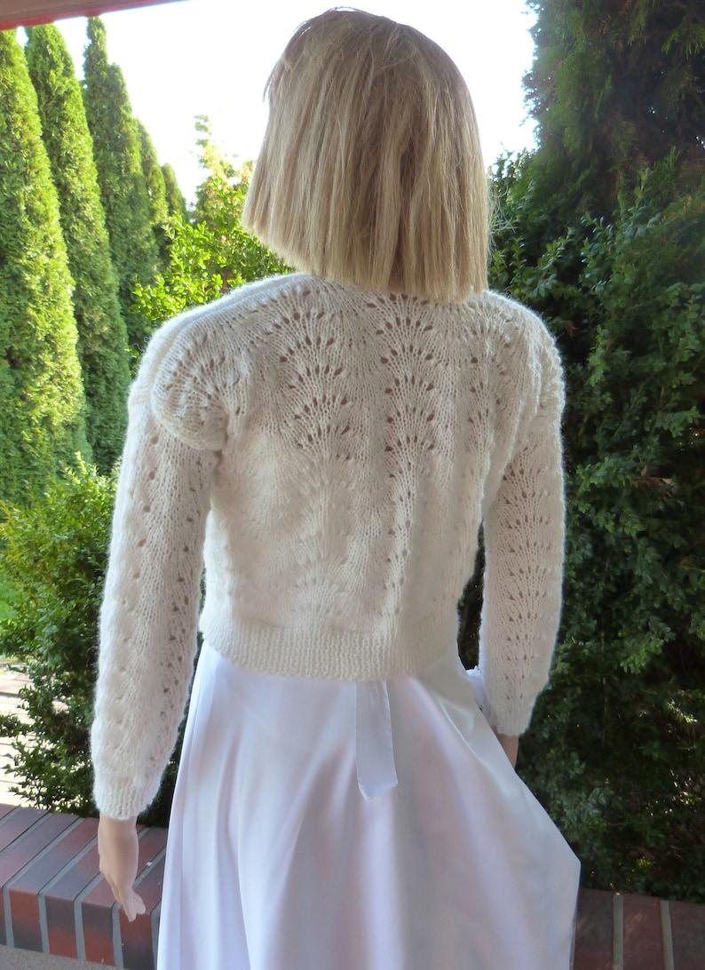 Jacket Lace Cream Wedding Sweater.Openwork Bridal Sweater Crop Cardigan.