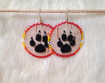 Boucles d'oreilles en perles amérindien «Voyage du Loup»