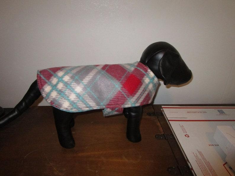 Tartan Plaid Gray Maroon Teal with Teal reverse side Fleece DOG COAT