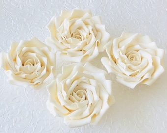 4 Fondant Roses IV Gumpaste Edible Flowers Sugar Sugarpaste Cake Decoration Wedding Topper