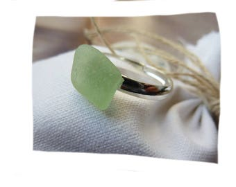 Ring durable natural organic piece of green glass polished by the sea