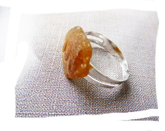 Ring durable natural organic piece of glass polished by the sea with letters