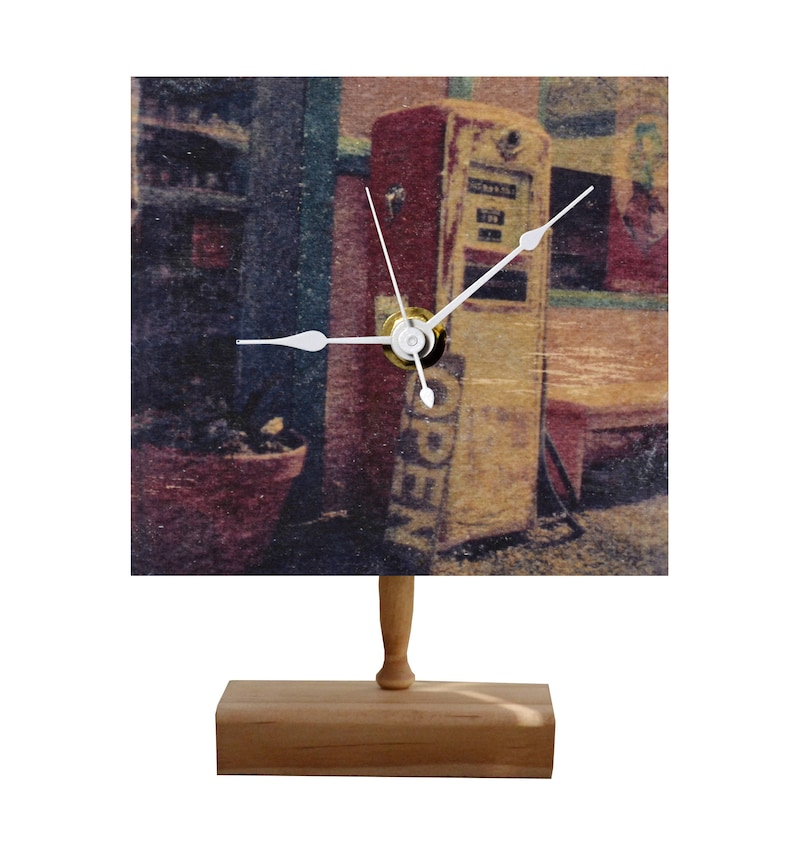 VINTAGE GAS PUMP Gel Medium Transfer Photo Clock on Wood with Handmade  Stand for Desktop or Wall