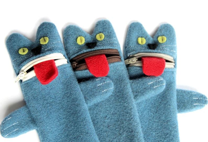 Cat Pencil Case Zippered Woolen Kitty Pen Organizer Blue image 0