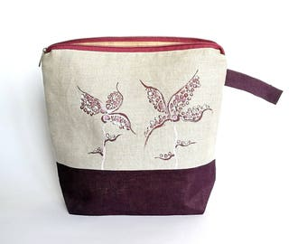 Coworker Gifts: Linen Make Up Case with Hand Painted Flower Ornament - Large Sangria Color Cosmetic Pouch - Zippered Knitting Project Bag