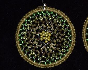 Neutral Green Stellar Beaded Earrings
