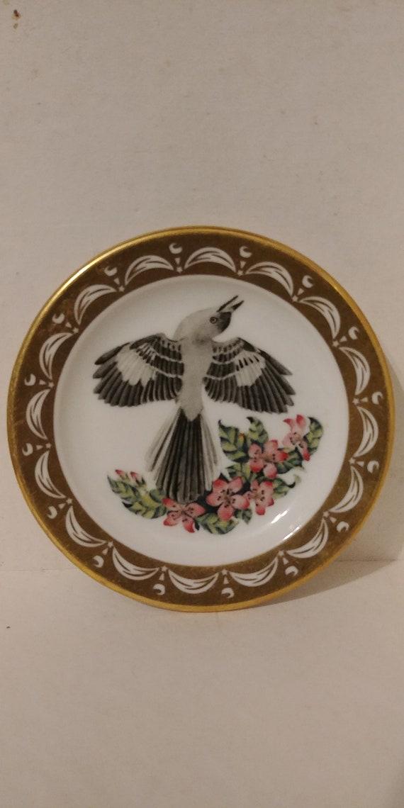 State Birds and Flowers Miniature Mini Plate ARKANSAS Mockingbird Apple Blossom