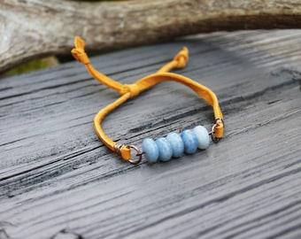 Blue Sodalite Stack Bracelet //  Friendship Bracelet // Mustard Yellow Deerskin Lace // made in Charleston, SC