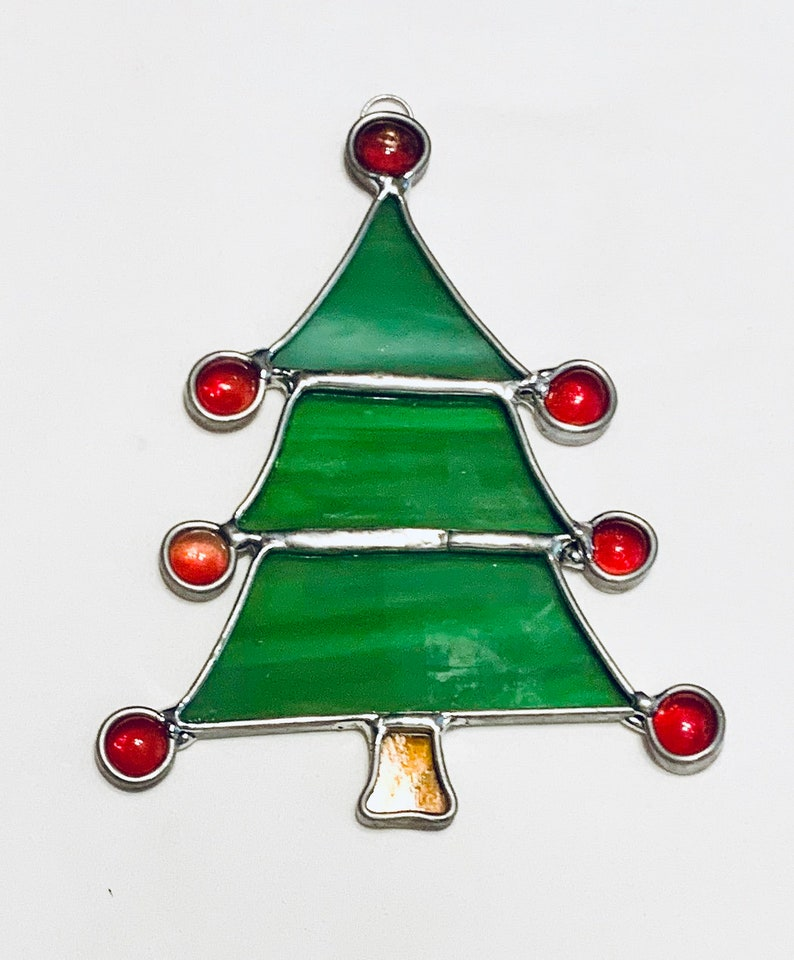 Stained Glass Green Christmas Tree Suncatcher