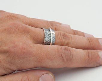 Ring, meditation, silver, Tibetan Bangle, Bangle, running, textured Bangle