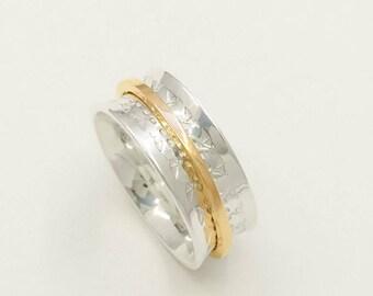 Meditation ring, silver, rose gold 14k rush, bird texture, polished silver