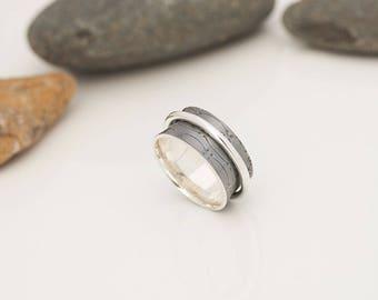 Meditation, silver ring, silver ring oxidized ring rotates, Tibetan, textured Bangle Bracelet
