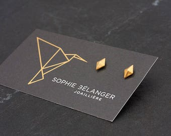 polygon, octahedron, boho, plated yellow gold, silver, triangle, gift for her jewelry
