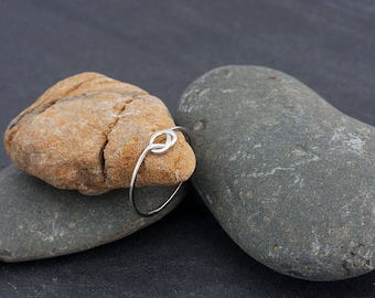 Silver sterling 925 ring, knots, fine, thin