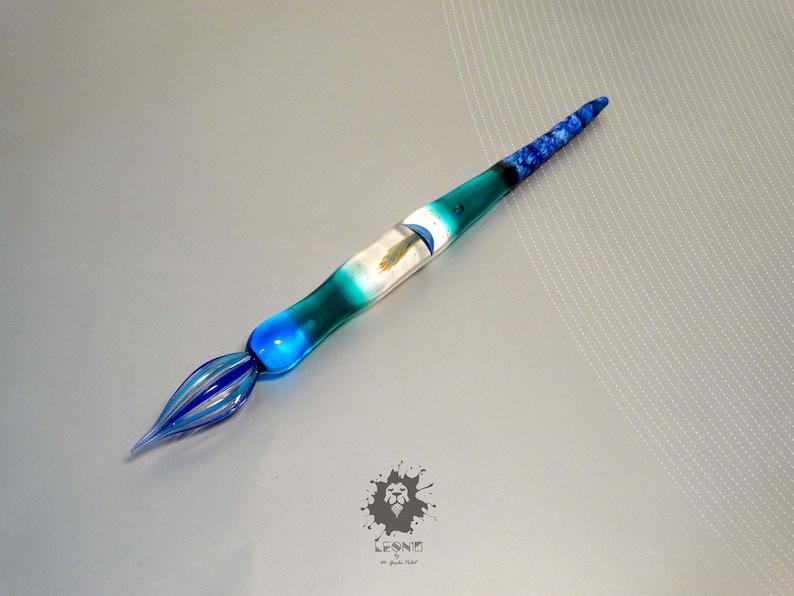 Jellyfish calligraphy pen sealife handwriting glass dip pen glass nib functional art