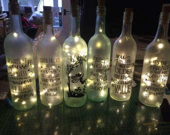 Decorative light up bottles