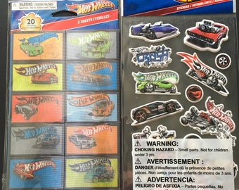 Hot Wheels Holographic and Puffy Stickers - Cars - Scrapbooking
