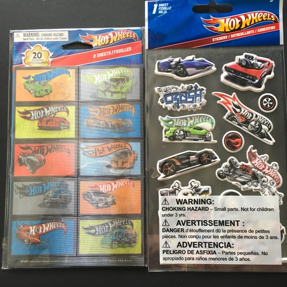 3 x HOT WHEELS Sticker Sheets Ideal Party Bag Stickers Cars HotWheels