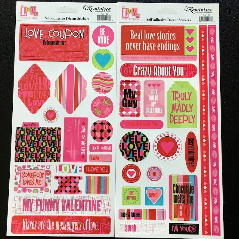 Cardstock Stickers Valentines WIth Glitter Loves Me Collection Pebbles