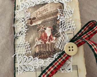 Mini Christmas Journal/Christmas Gift/Stocking Stuffer/Junk Journal/Shelf Decor