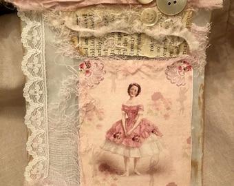 Glassine Gift Bag/Junk Journal/Ballerina/Tags!/ Little girl's bedroom decor, collage