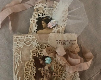 Small Gift Bag w/Tag/Junk Journal/Album/Gift Topper/Room Decor/French Script