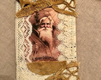 OOAK Chipboard Vintage Santa Tag/Antique Laces/Door Hanger/Room Decor/Ornament
