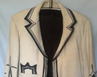 Wool beige and black vintage Mexican mariachi inspired embellished jacket in excellent condition, size med/large