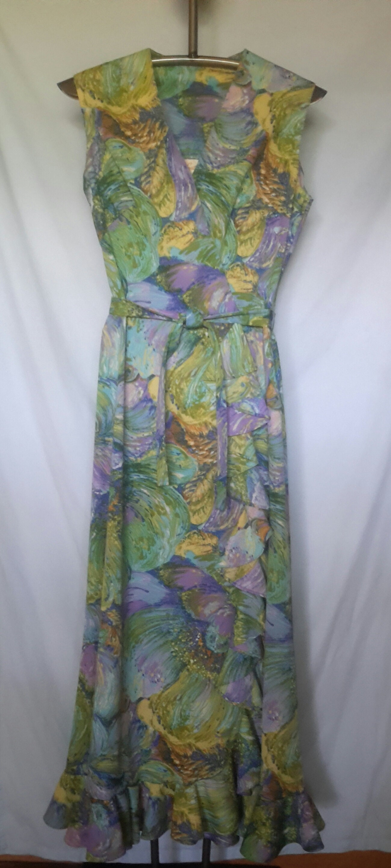 Vintage 60s Joan Curtis Sleeveless Pastel Floor Length Dress With
