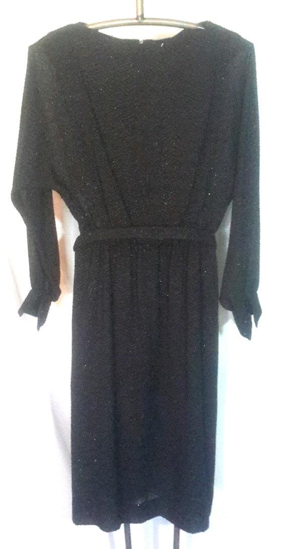 Vintage long sleeved black dress, sheer fabric ov… - image 3
